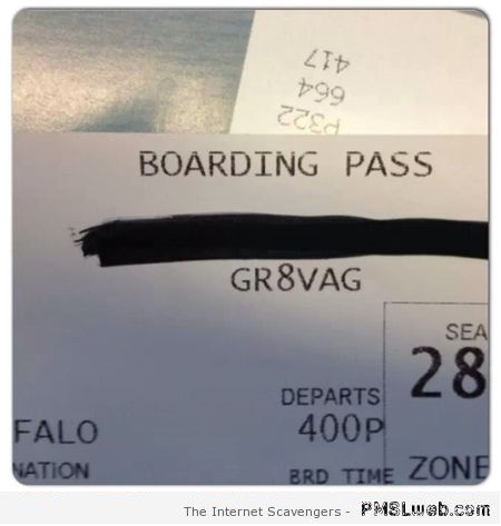 Naughty boarding pass humor at PMSLweb.com