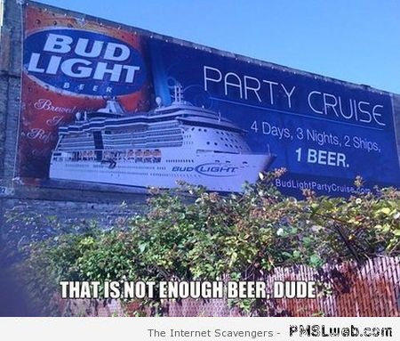 Funny party cruise beer fail at PMSLweb.com