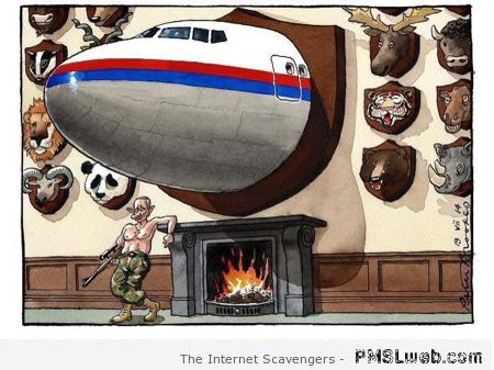 Putin's trophy room Malaysia airlines cartoon at PMSLweb.com