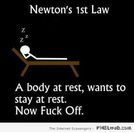 Funny Newton's first law – Midweek funnies at PMSLweb.com