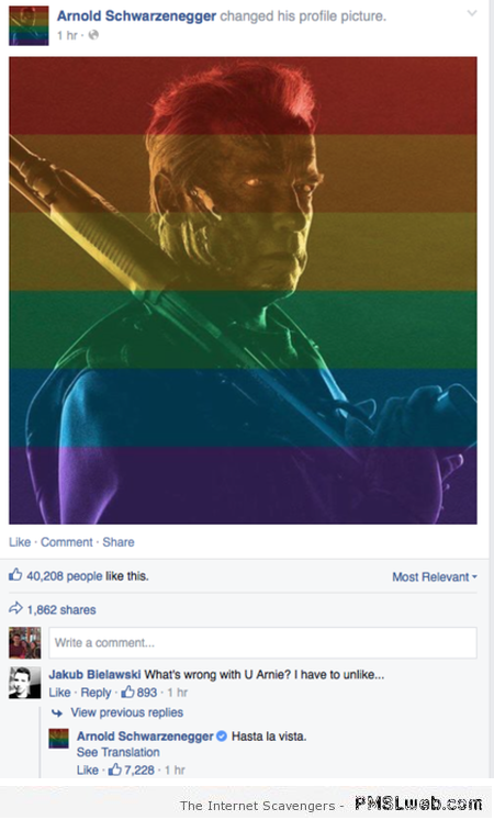 Schwarzenegger against homophobia – Monday mischief at PMSLweb.com