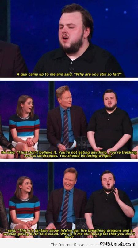Samwell Tarly on the tonight show humor at PMSLweb.com