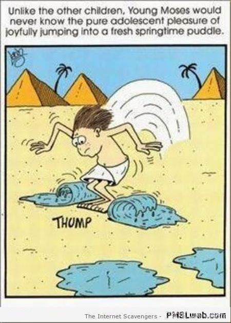Funny Moses puddles cartoon at PMSLweb.com