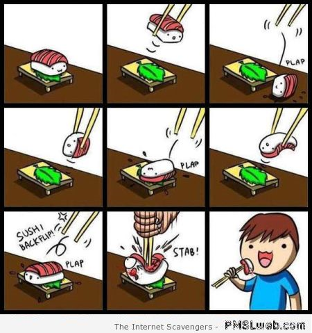 Funny sushi cartoon – New week LOL at PMSLweb.com