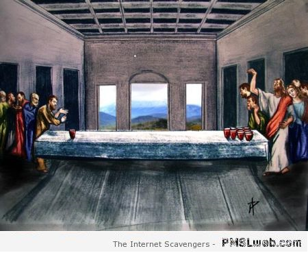 Jesus playing beer pong at PMSLweb.com