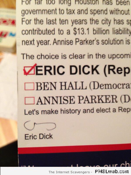 Funny Eric Dick signature at PMSLweb.com