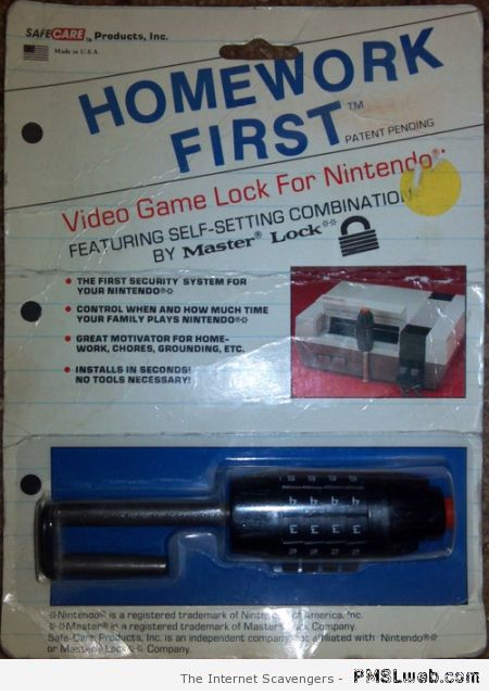 Vintage video game lock for Nintendo at PMSLweb.com