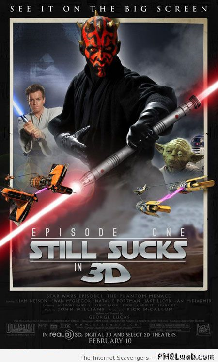 Sarcastic Star Wars episode poster at PMSLweb.com