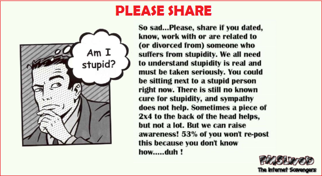 Raise awareness on stupidity humor at PMSLweb.com