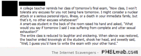 Funny teacher comment about exam at PMSLweb.com