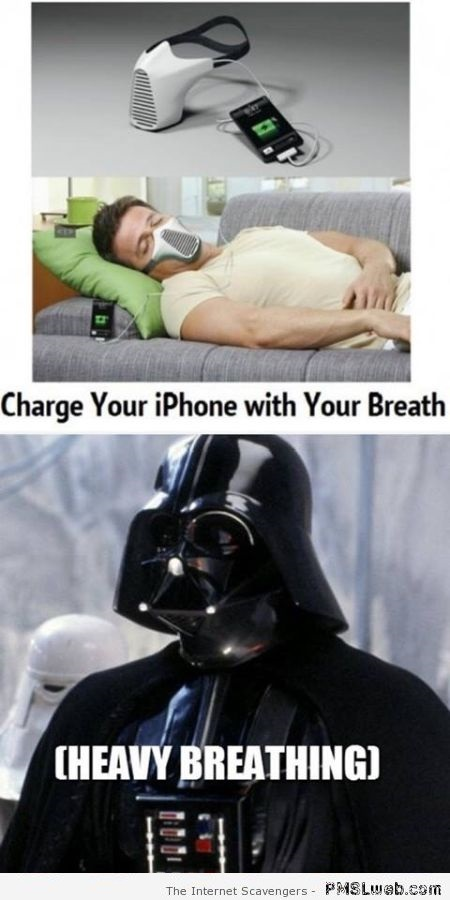 Charge your iPhone with your breath Vader meme at PMSLweb.com