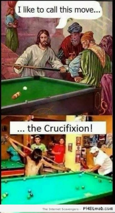 Funny pool move the crucifixion