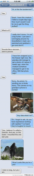 Funny taxidermist on iPhone