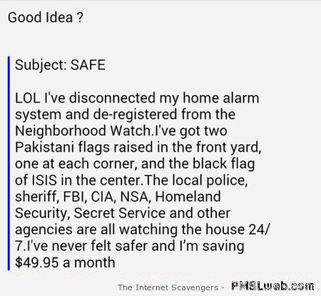 Funny saving on home safety at PMSLweb.com