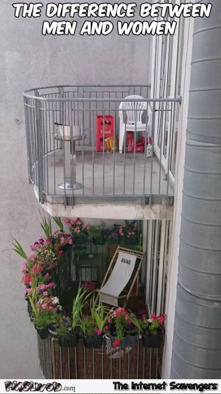 Funny balcony difference between men and women – Friday ROFL at PMSLweb.com