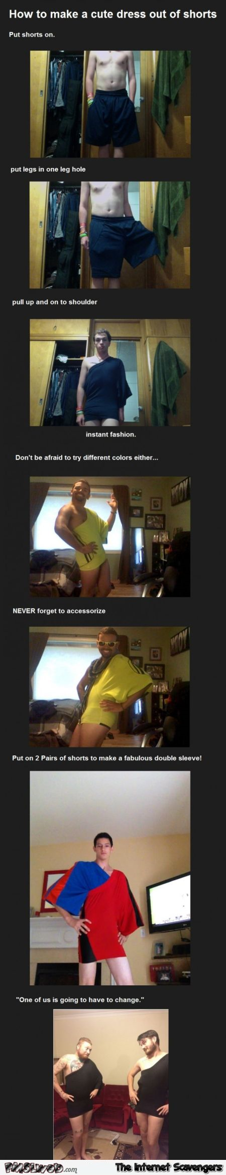 How to make a cute dress out of shorts humor at PMSLweb.com
