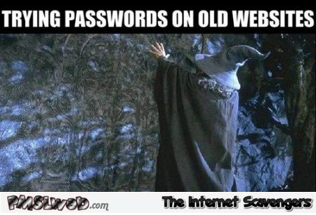 Trying passwords on old websites humor at PMSLweb.com