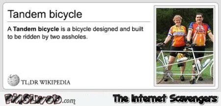 Funny tandem bicycle definition – Daily funny pictures at PMSLweb.com