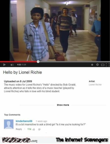 Hello Lionel Richie funny Youtube comment at PMSLweb.com