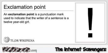 Funny exclamation point definition at PMSLweb.com