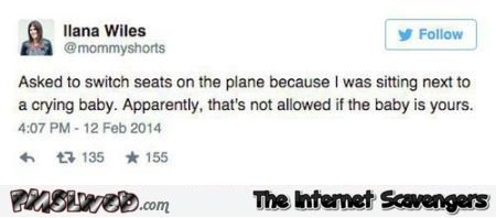 Crying baby on plane funny tweet at PMSLweb.com
