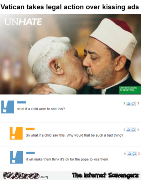 Funny Pope kissing advert comment at PMSLweb.com