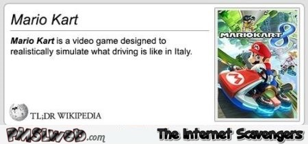 Funny Wikipedia Mario Kart definition at PMSLweb.com