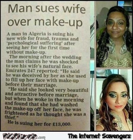 Man sues ugly wife news at PMSLweb.com
