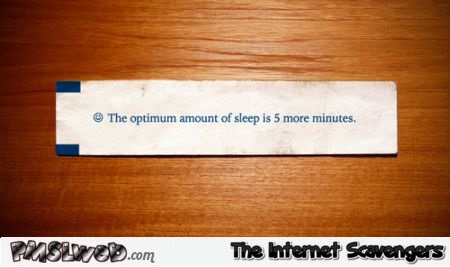 Funny optimum amount of sleep fortune cookie at PMSLweb.com
