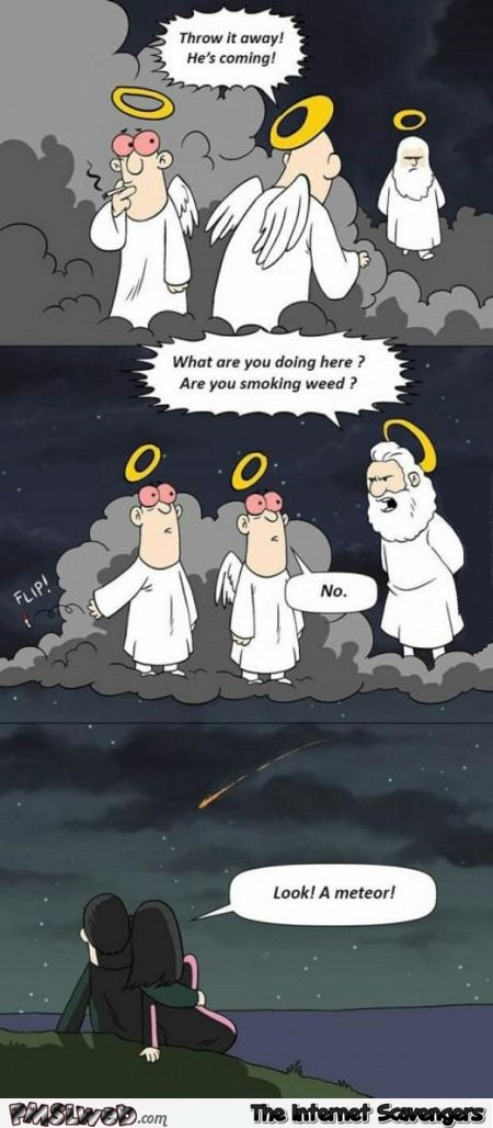Smoking weed in heaven funny cartoon at PMSLweb.com