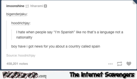 Spanish is a language not a nationality fail at PMSLweb.com