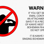 Funny kanye West singing bohemian rhapsody warning at PMSLweb.com