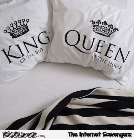 Funny King and Queen bed cushions at PMSLweb.com