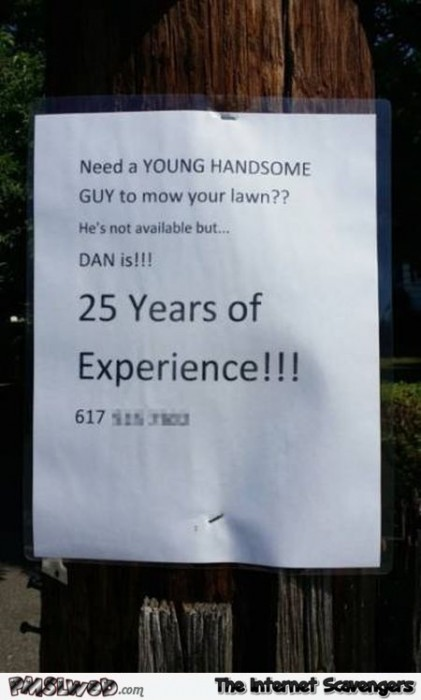 Funny lawn mowing job offer sign