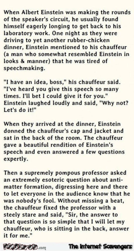 Funny Albert Einstein story – Wednesday mischief at PMSLweb.com