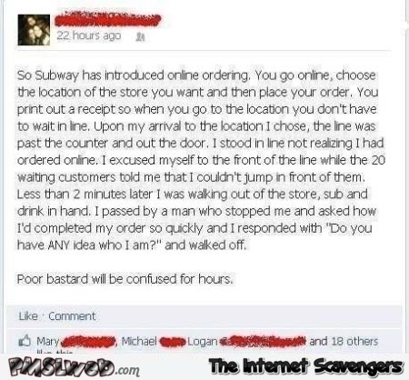 Funny Subway online ordering story at PMSLweb.com