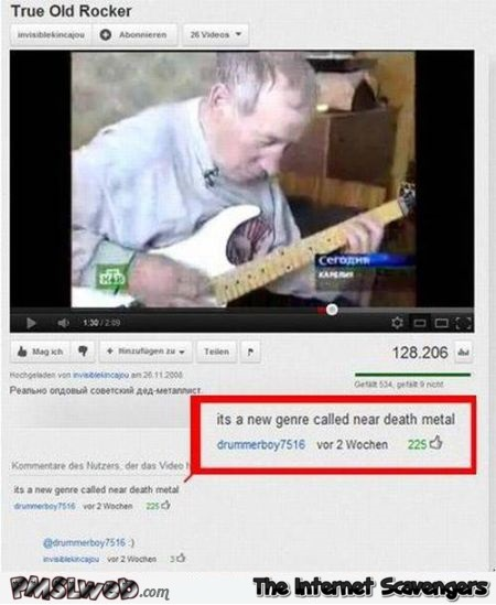 Near death metal funny youtube comment at PMSLweb.com