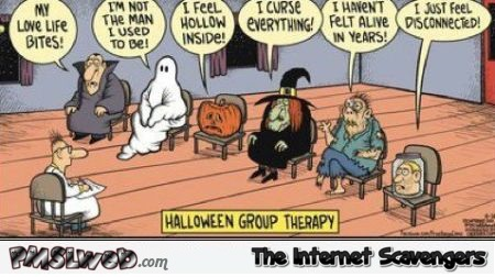 Halloween group therapy cartoon