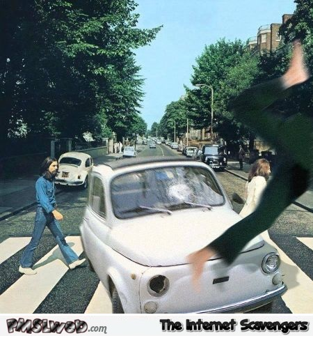 Funny Abbey road accident parody – PMSLweb weekend @PMSLweb.com