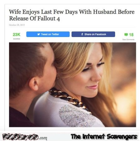 Wife enjoys husband before release of fallout 4 @PMSLweb.com