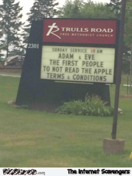 Funny Adam & Eve church sign @PMSLweb.com