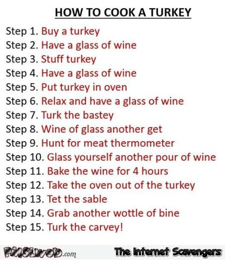 How to cook Turkey Thanksgiving humor @PMSLweb.com