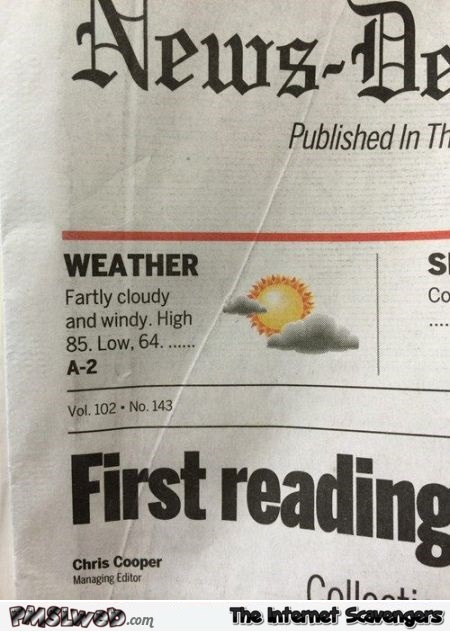 Newspaper weather fail @PMSLweb.com