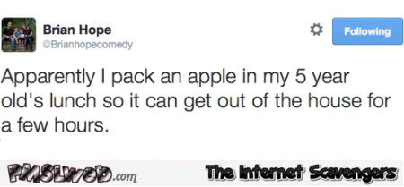 Packing an Apple for lunch funny tweet – Wednesday mischief @PMSLweb.com