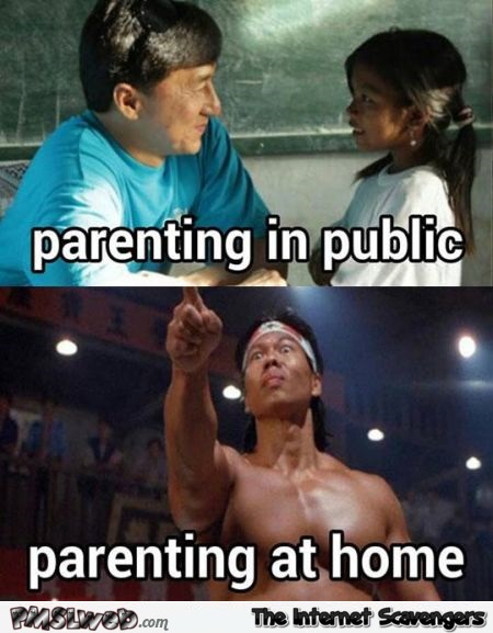 Parenting in public versus at home meme @PMSLweb.com
