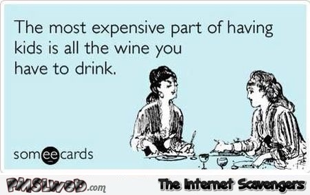 The most expensive part of having kids sarcastic ecard @PMSLweb.com