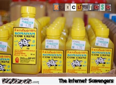 WTF bottles of cow urine @PMSLweb.com