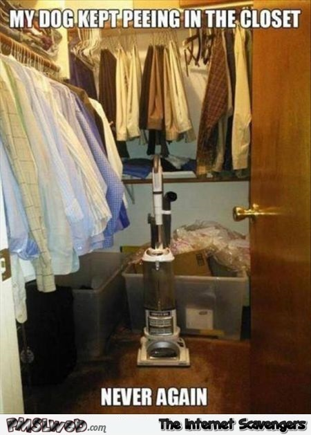 Solution for dog peeing in the closet meme @PMSLweb.com