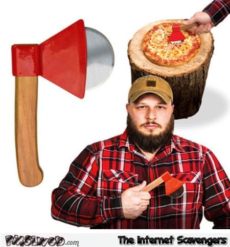 Lumberjack pizza cutter