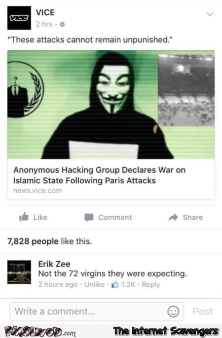 Funny Anonymous versus Isis comment @PMSLweb.com